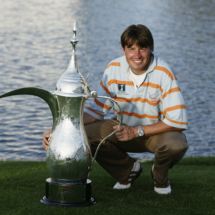 Robert-Jan Derksen of Holland poses with the winning trophy